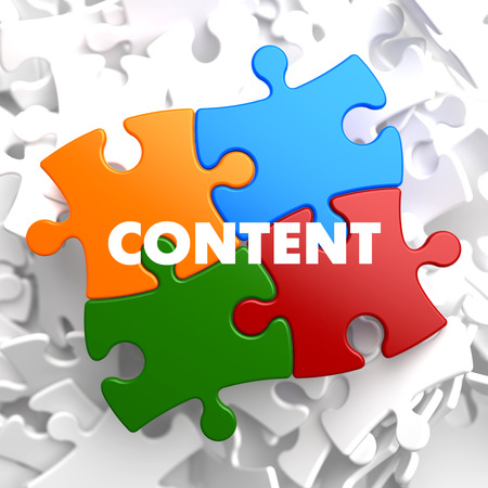 article marketing: Content on Multicolor Puzzle on White Background.