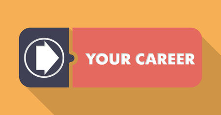 Your Career Button in Flat Design with Long Shadows on Orange Background. photo