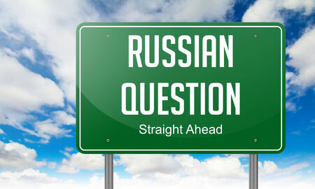 annexation: Highway Signpost with Russian Question wording on Sky Background.
