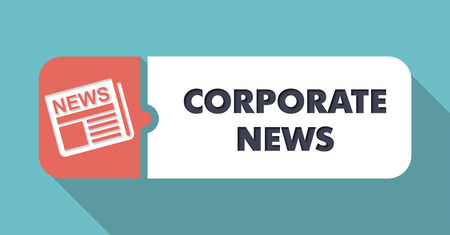 domestic policy: Corporate News Button in Flat Design with Long Shadows on Blue Background. Stock Photo