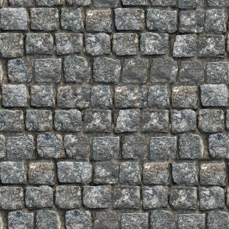 Gray Old Paving Stone Closeup. Seamless Tileable Texture. Stock Photo