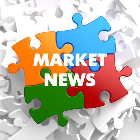 Market  News on Multicolor Puzzle on White Background. photo