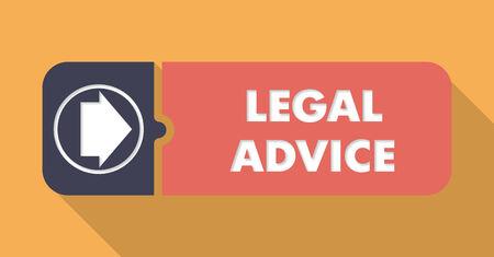 asesoria legal: Aviso Legal Button en Dise�o plano con largas sombras sobre fondo naranja.