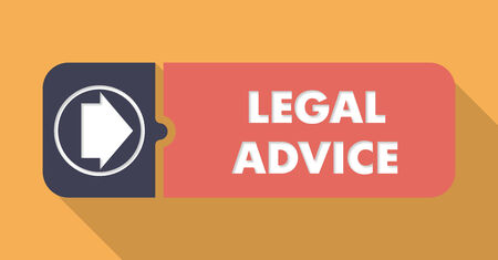 lawmaking: Legal Advice Button in Flat Design with Long Shadows on Orange Background. Stock Photo