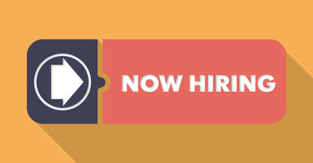 now hiring: Now Hiring Button in Flat Design with Long Shadows on Orange Background.