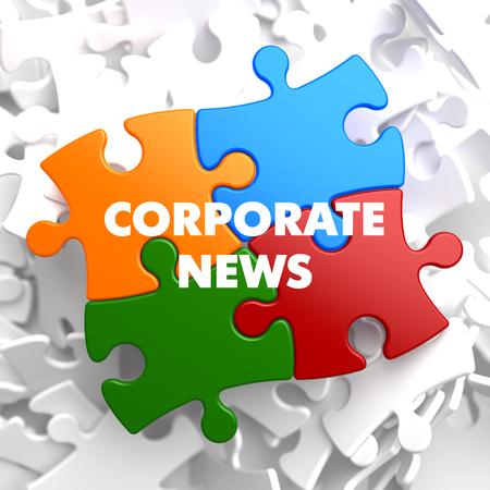 domestic policy: Corporate  News on Multicolor Puzzle on White Background.