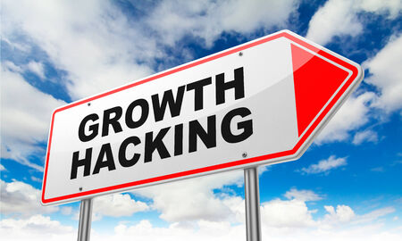 growth: Growth Hacking - Inscription on Red Road Sign on Sky Background.