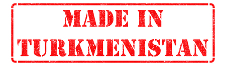 Made in Turkmenistan - Inscription on Red Rubber Stamp Isolated on White. photo