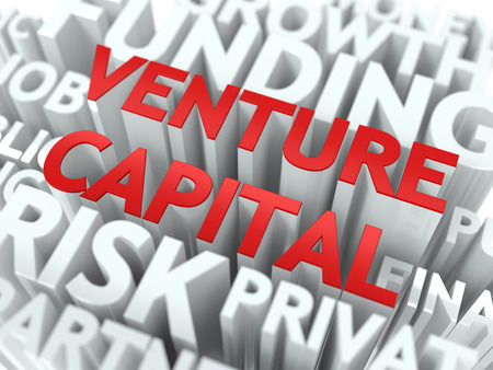 capitalist: Venture Capital - Red Word on White Wordcloud Concept. Stock Photo