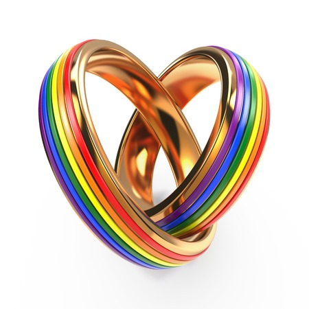 lesbienne: Anneaux de mariage comportant des symboles gays isolé sur blanc.