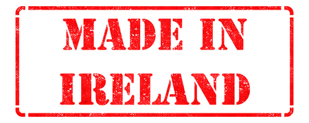 Made in Ireland - Inscription on Red Rubber Stamp Isolated on White. photo