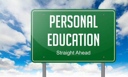 Highway Signpost with Personal Education wording on Sky Background. photo