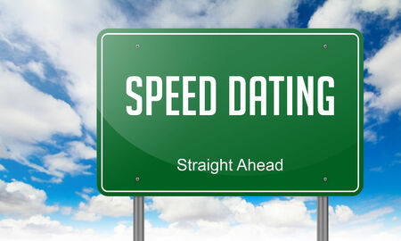 Highway Signpost with  Speed Dating wording on Sky Background. photo