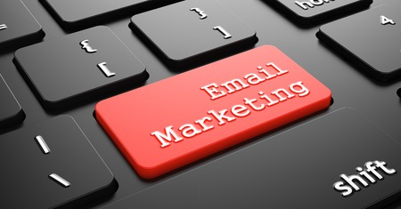 email marketing: Email Marketing - Red Button Enter on Black Computer Keyboard.