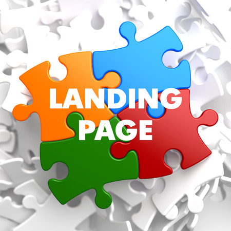 Landing Page  on Multicolor Puzzle on White Background. Stok Fotoğraf