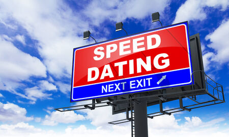 speed dating: Speed Dating - Red Billboard on Sky Background. Love Concept.