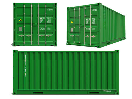 Green Cargo Container in Three Dimensions Isolated on White Background. photo