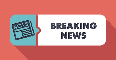 newscast: Breaking News Button in Flat Design with Long Shadows on Scarlet Background. Stock Photo