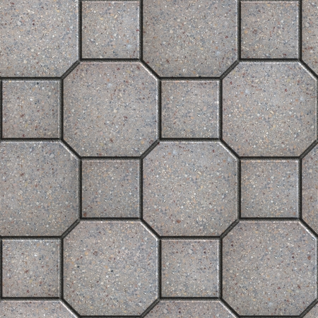 octagon: Gray Square and Octagon Paving Slabs. Seamless Tileable Texture. Stock Photo