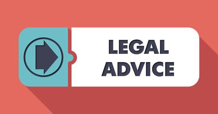asesoria legal: Aviso Legal Button en Dise�o plano con largas sombras sobre fondo escarlata. Foto de archivo