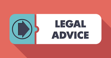 lawmaking: Legal Advice Button in Flat Design with Long Shadows on Scarlet Background.