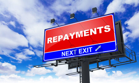 facilitation: Repayments - Red Billboard on Sky Background. Business Concept. Stock Photo