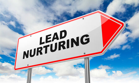 maintaining: Lead Nurturing - Inscription on Red Road Sign on Sky Background.