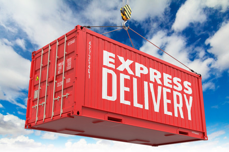 Express Delivery - Red Cargo Container hoisted with hook on Blue Sky Background. photo