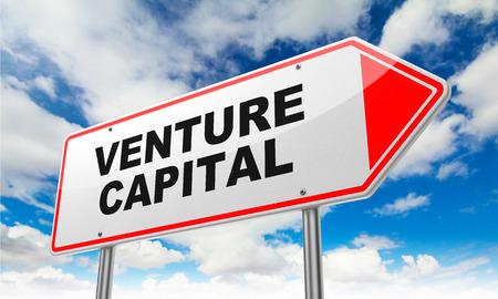 Venture Capital - Inscription on Red Road Sign on Sky Background. Reklamní fotografie