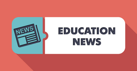 pedagogy: Education News  Button in Flat Design with Long Shadows on Scarlet Background.