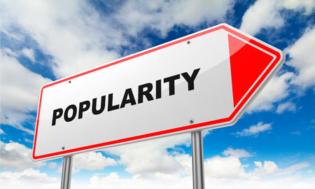notoriety: Popularity - Inscription on Red Road Sign on Sky Background. Stock Photo
