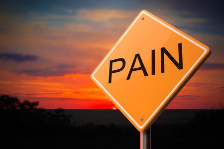 neuralgia: Pain on Warning Road Sign on Sunset Sky Background. Stock Photo