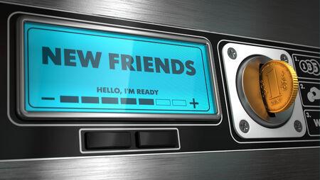 distributeur automatique: New Friends - Inscription sur Affichage du distributeur automatique. Concept. Banque d'images