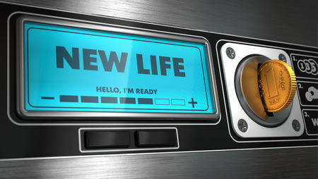New Life- Inscription on Display of Vending Machine. Business Concept. photo