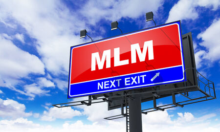MLM - Red Billboard on Sky Background. Business Concept. photo