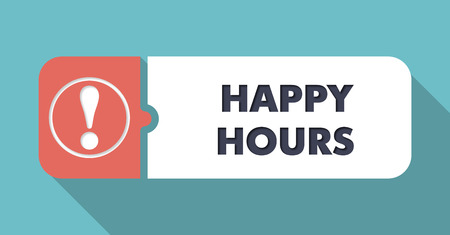 happy hours: Happy Hours  in Flat Design with Long Shadows on Turquoise Background.