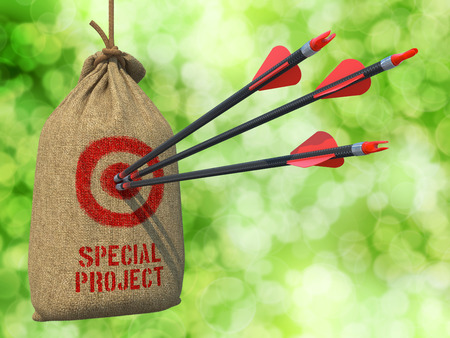 jointly: Special Project - Three Arrows Hit in Red Target on a Hanging Sack on Green Bokeh Background. Stock Photo