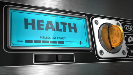 heartiness: Health - Inscription on Display of Vending Machine. Stock Photo