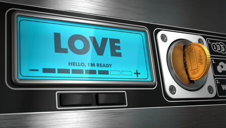 distributeur automatique: Amour - Inscription sur Affichage de distributeur automatique. Concept.