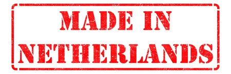 made in netherlands: Made in Netherlands - Red Rubber Stamp Isolated on White.
