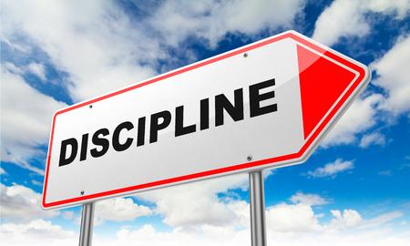 Discipline - Inscription on Red Road Sign on Sky Background.