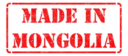 Made in Mongolia - Red Rubber Stamp Isolated on White. photo