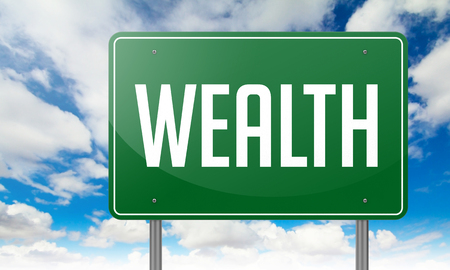 Highway Signpost with Wealth wording on Sky Background. photo