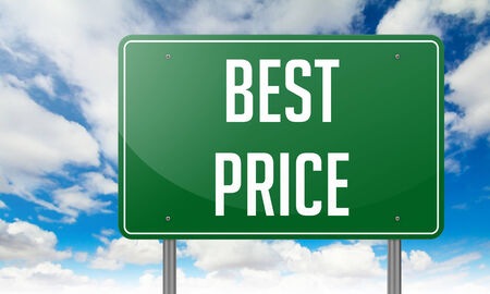 Highway Signpost with Best Price wording on Sky Background. photo