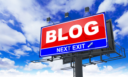 Blog - Red Billboard on Sky Background. Business Concept. Stock Photo