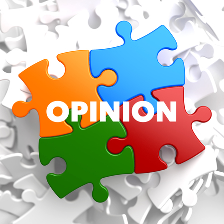 opinionated: Opinion on Multicolor Puzzle on White Background.