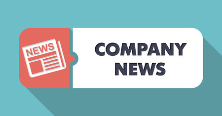 domestic policy: Company News  in Flat Design with Long Shadows on Turquoise Background.