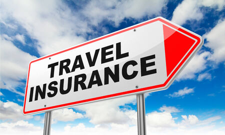 Travel Insurance - Inscription on Red Road Sign on Sky Background. Stock Photo