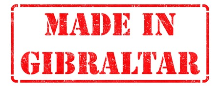 Made in Gibraltar  - Inscription on Red Rubber Stamp Isolated on White. photo