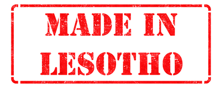 Made in Lesotho - Inscription on Red Rubber Stamp Isolated on White. photo